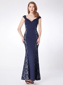 Navy V Neck Cap Sleeve V Back Floor Length Prom Dress With Lace