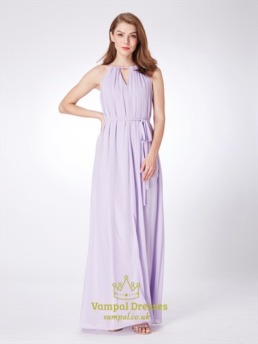 A Line Lilac High Neck Keyhole Pleated Chiffon Prom Dress With Belt