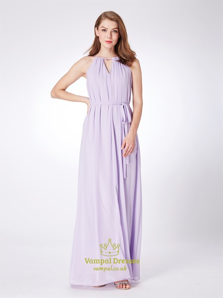 A Line Lilac High Neck Keyhole Pleated Chiffon Prom Dress With Belt