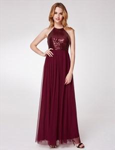 Burgundy Halter Neck Sleeveless Sequin Top Tulle Bottom Dress