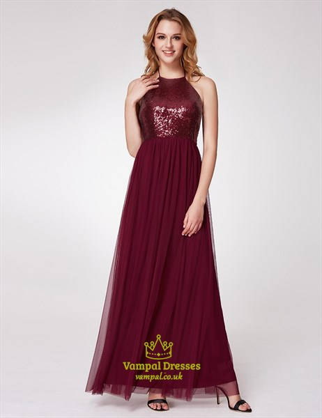 Burgundy Halter Neck Sleeveless Sequin Top Tulle Bottom Dress