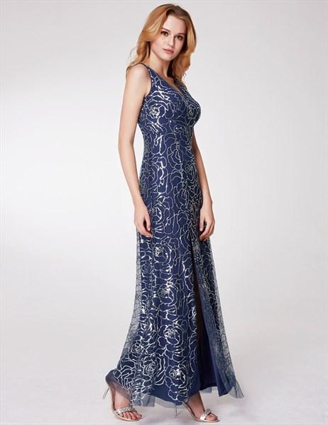 Navy Blue V Neck Sleeveless Floor Length Tulle Prom Dress With Split