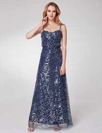 A Line Spaghetti Strap Sleeveless Sequin Embellished Long Prom Dress