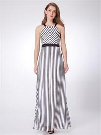 Simple A Line White Halter Neck Sleeveless Striped Maxi Dress