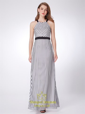 Simple A Line White Halter Neck Sleeveless Striped Maxi Dress