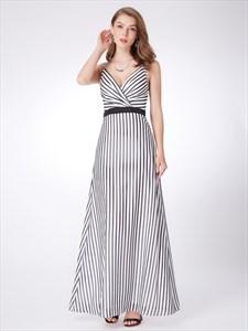 White Spaghetti Strap V Neck Ruched Sleeveless Striped Maxi Dress