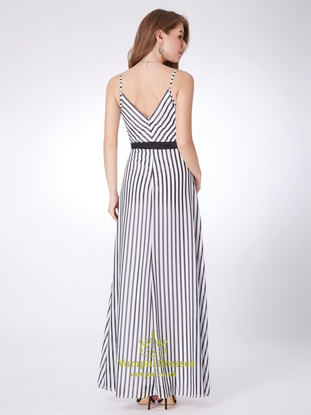 White Spaghetti Strap V Neck Ruched Sleeveless Striped Maxi Dress