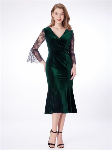 Emerald Green V Neck Ruched Sheer Flutter Sleeve Sheath Velvet Dress