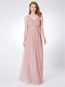 Blush Pink V Neck Sleeveless Ruched Empire Waist Tulle Prom Dress
