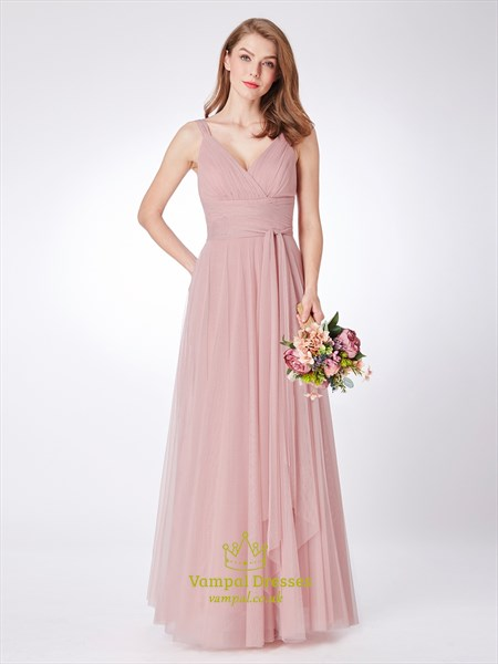 Blush Pink V Neck Sleeveless Ruched Empire Waist Tulle Prom Dress
