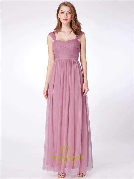 Pink Square Neckline Sleeveless Ruched Floor Length Tulle Prom Dress