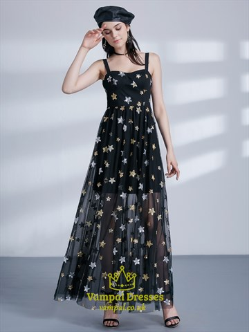 Long A Line Black Square Neck Sleeveless Tulle Maxi Dress With Stars