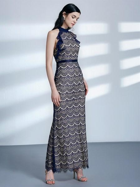 Elegant Navy Blue Halter Neck Sheath Lace Prom Dress With Ruffles