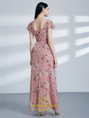 Pink V Neck Flutter Sleeve Ruched Floral Print Maxi Dress With Split