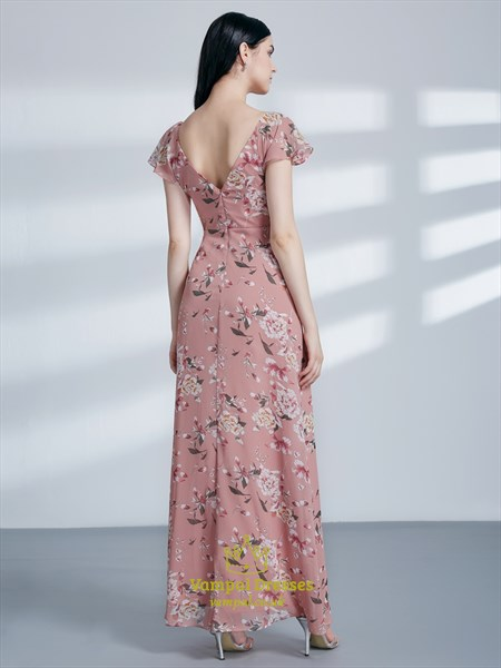 Pink V Neck Flutter Sleeve Ruched Floral Print Maxi Dress With Split