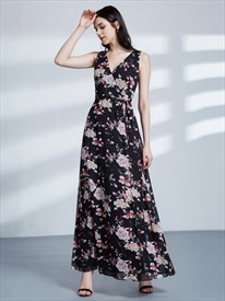 A Line V Neck Sleeveless V Back Chiffon Long Maxi Dress With Belt
