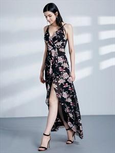 Spaghetti Strap Sleeveless Tea Length Chiffon Maxi Dress With Split