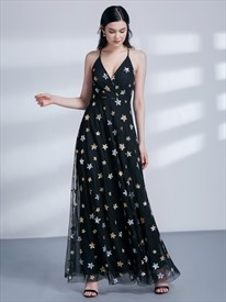 A Line Black Sleeveless Cross Back Tulle Maxi Dress With Stars