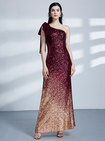 Burgundy One Shoulder Sleeveless Sheath Sequin Long Prom Dress