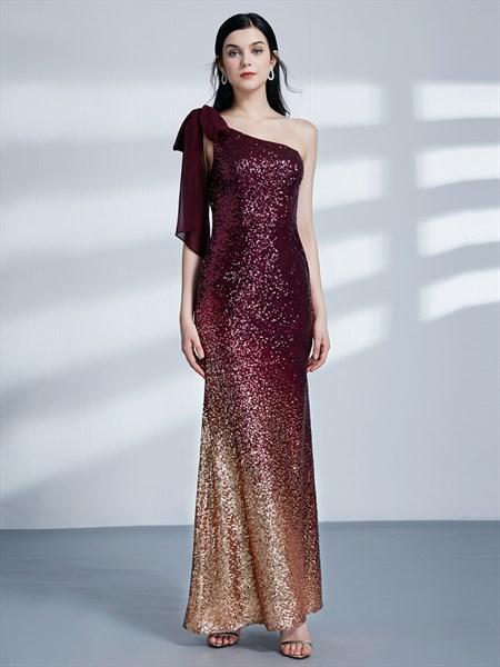 Burgundy One Shoulder Sleeveless Sheath Sequin Long Prom Dress