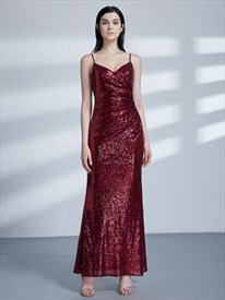 Elegant Spaghetti Strap Ruched Sequin Sheath Floor Length Prom Dress