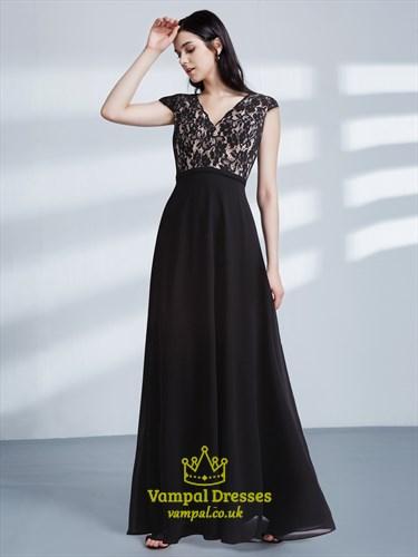 A Line Black V Neck Cap Sleeve V Back Lace Top Chiffon Prom Dress
