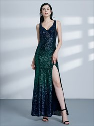 Emerald Green V Neck Sleeveless Sequin Long Prom Dress With Split