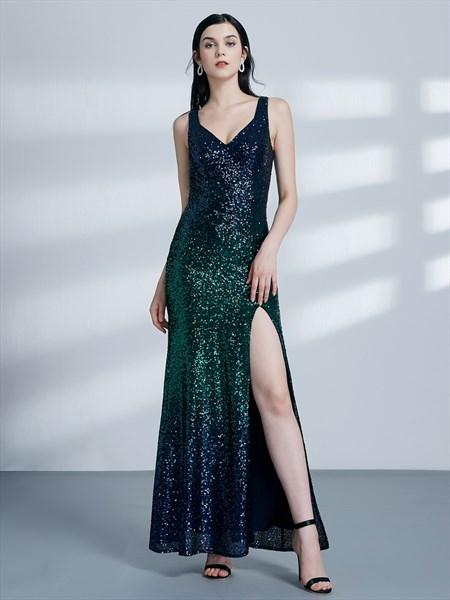 Emerald Green V Neck Sleeveless Sequin Long Prom Dress With Split