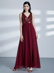 Burgundy A Line V Neck Pleated Floor Length Chiffon Prom Dress