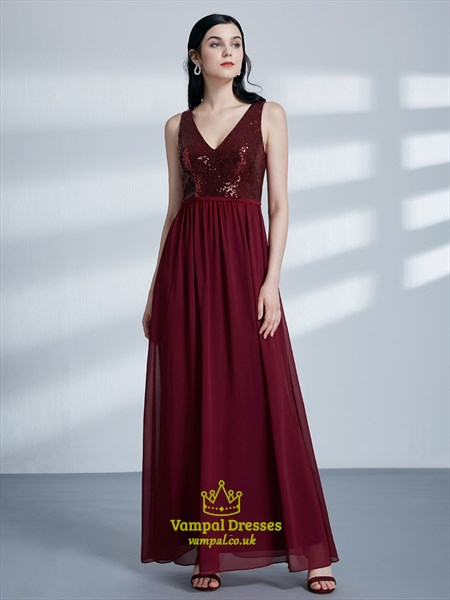 Burgundy A Line V Neck Pleated Floor Length Chiffon Prom Dress
