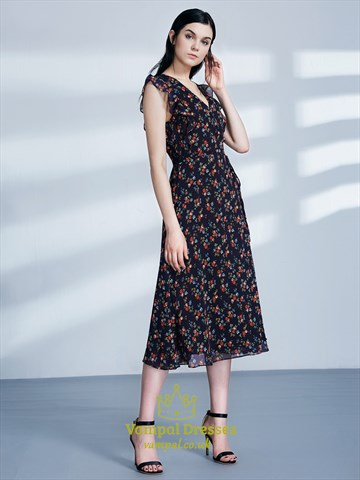 Simple V Neck Flutter Sleeve Tea Length Floral Print Dress With Belt