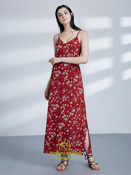 Spaghetti Strap Sleeveless Floral Maxi Dress With Belt And Split