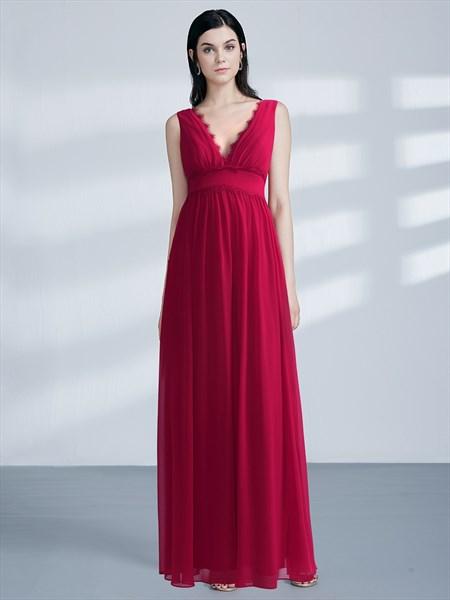 A-Line Red V Neck Applique Ruched Empire Waist Chiffon Prom Dress
