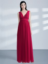 A-Line Red V Neck Applique Ruched Empire Waist Chiffon Prom Dress