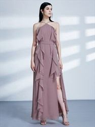 High Neck Sleeveless Chiffon Maxi Dress With Ruffle And Split