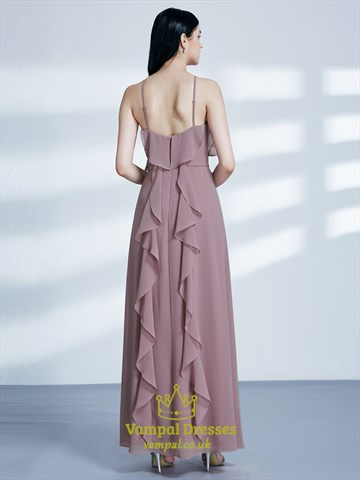 High Neck Sleeveless Chiffon Maxi Dress With Ruffle And Split