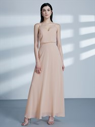 Simple A Line Blush Pink Spaghetti Strap Chiffon Long Prom Dress