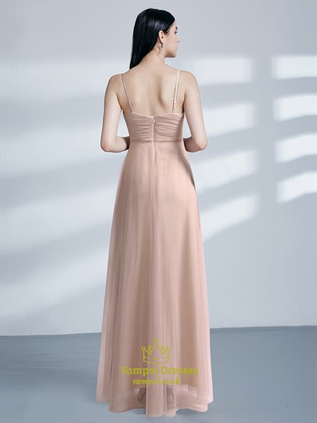 Blush Pink Sleeveless Ruched Bodice Floor Length Tulle Prom Dress