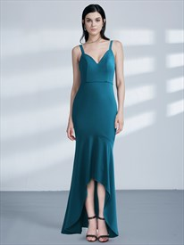 Blue Spaghetti Strap V Back Sheath Mermaid High Low Prom Dress