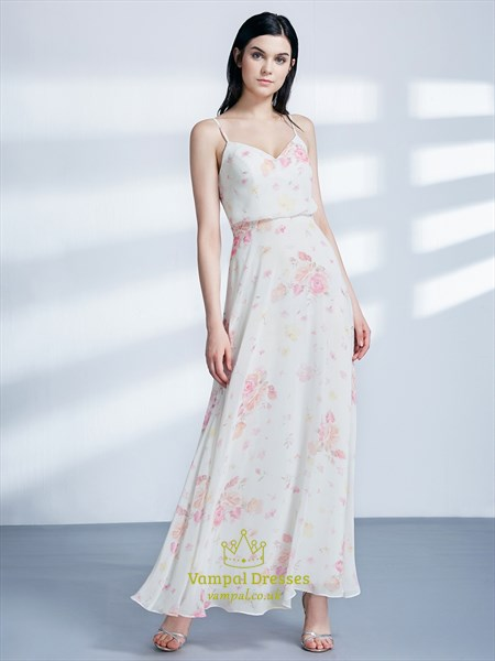 Simple A Line Sleeveless Floor Length Floral Chiffon Maxi Dress