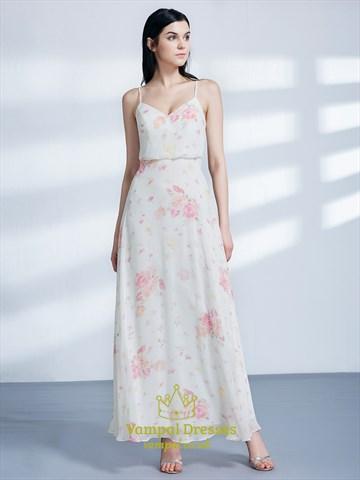 Simple A Line Sleeveless Floor Length Floral Chiffon Maxi Dress