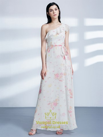 One Shoulder Ruffle Neck Chiffon Floral Maxi Dress With Belt