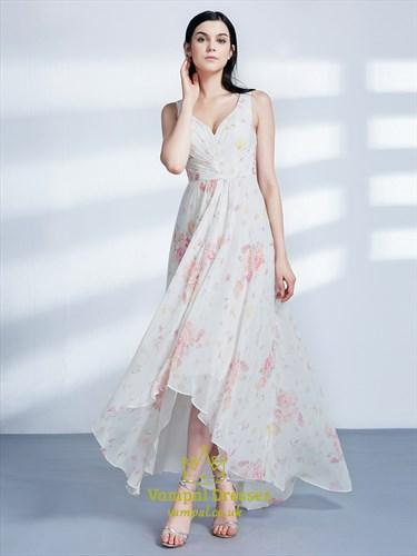 A Line V Neck Asymmetrical Hem Ruched Chiffon Floral Maxi Dress