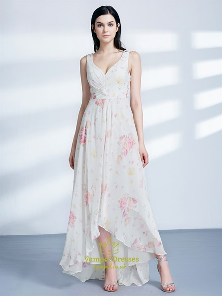 A Line V Neck Asymmetrical Hem Ruched Chiffon Floral Maxi Dress