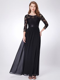 Simple A Line Jewel Neck Lace Top Chiffon Prom Dress With 3/4 Sleeve