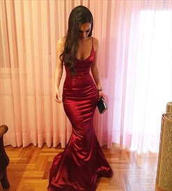 Elegant Burgundy Spaghetti Strap Sheath Mermaid Taffeta Prom Dress