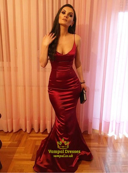 Elegant Burgundy Spaghetti Strap Sheath Mermaid Taffeta Prom Dress