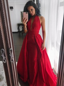 Red Halter Neck Sleeveless Ruched Cut Out Back Satin Prom Dress
