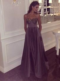 Chocolate A Line V Neck Beaded Floor Length Satin Prom Dress