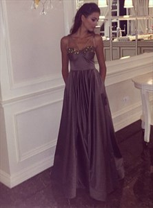Chocolate A Line V Neck Beaded Floor Length Satin Prom Dress